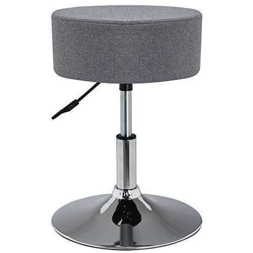 Duhome Drehhocker Sitzhocker Hocker RUND höhenverstellbar drehbar aus Kunstleder Farbauswahl 428S (Grau - Leinen)
