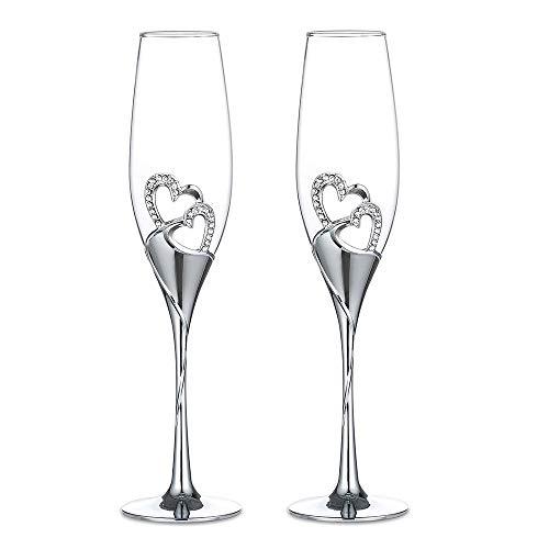 1 Set (2-teilig) Kreative hochwertige Weingläser Gläser mit Fuß farbige Emaille Kristiall Diamant-besetzt herzförmig Liebespaar Hochzeit 2er Set Gläser romatische Sektgläser Geschenk Haus Deko