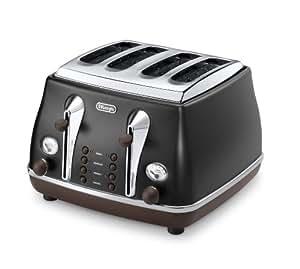 Delonghi Vintage Icona Storica CTOV4003.BK 4-Slice Toaster. Matt Black