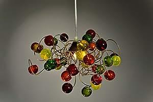 Lampe Design - Lustre Suspension - Boules Multicolores Transparentes - Couleurs Chaudes - Luminaire Contemporain - Deco Chambre - Jeu de Lumire - Eclairage Cuisine