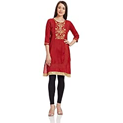 Rangriti Women's Straight Kurta (RMMJAMDANI1131_Red_46)