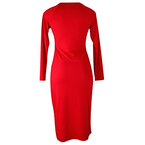 West See Damen Midi Kleid O-Ausschnitt Langarmshirt Etuikleid Abendkleid Rot