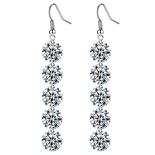 Dreamy Damen Ohrstecker Diamant Kugel Lange Quaste Ohrhaken Ohrringe 925 Sterling Silber Loop Ohrringe (Verkaufs-diamant-ohrringe)