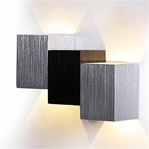 AGPtek 3W LED Moderno Cuadrado de Pared Lámpara de Diseño para Pasillo Pasarela Salón Dormitorio Luz Fixture, Lámpara Moderna Pequeña pero Bonita