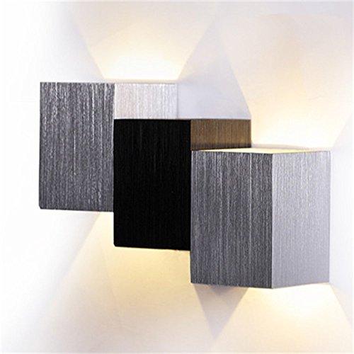 AGPtek® applique da parete 3W LED moderna all'interno della lampada da parete lampada del corridoio della lampada luci scale massimale per il soggiorno, camera da letto (nero)