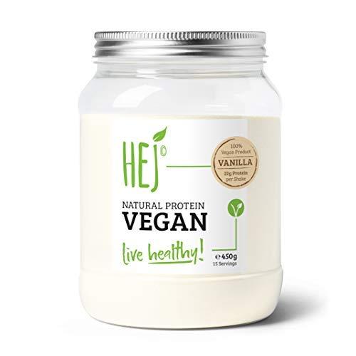 HEJ Natural Protein Vegan Vanille - Veganes Protein - Pflanzliches Proteinpulver aus hochwertigem Reis- und Erbsenprotein - Veganes Proteinpulver - 1er Pack (1 x 450g)