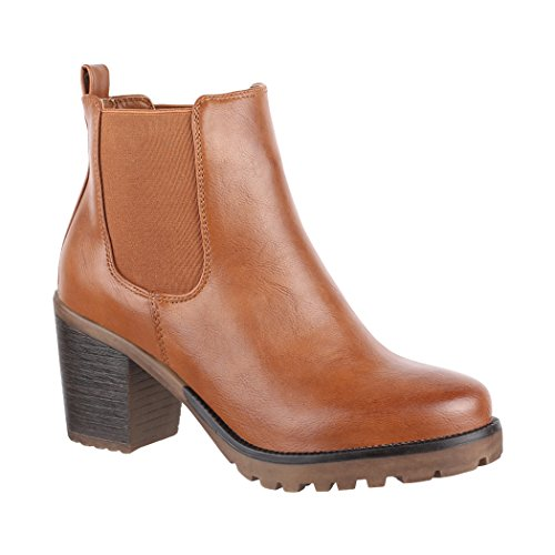 Elara Damen Stiefelette | Bequeme Ankle Boots| Chunkyrayan 2018 C166-Camel-37