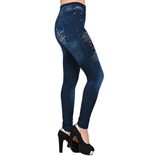 Frauen Sexy Nackt Jeggings Dehnbar Leggings Strumpfhosen Floral Jean Hose Denim - Hosen Style 6