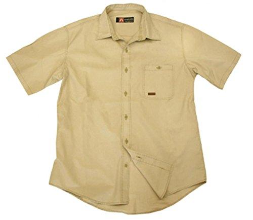 Outdoor 1/2 Halb-Arm Herrenhemd aus leichter Baumwolle in beige und dunkelblau