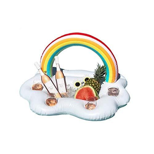 WWFF Swimmingpoolschwimmer, aufblasbarer Getränkebehälter mit Eiswürfelschale - BBQ-Picknick-Poolparty liefert Buffet mit Ablassschraube Gemütlich -