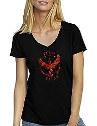 Team Valor Pokemon Go Cool Blur Logo T-Shirt für Damen mit V-Ausschnitt