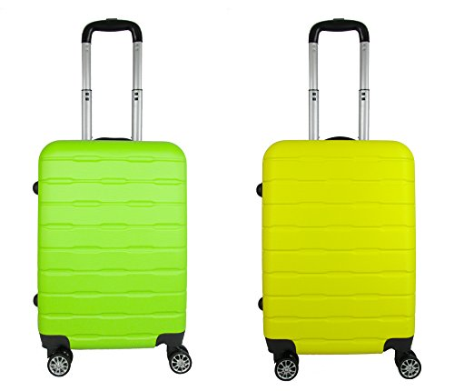 coppia Trolley Bagaglio a mano ABS rigido 8 ruote FG Travel green -yellow