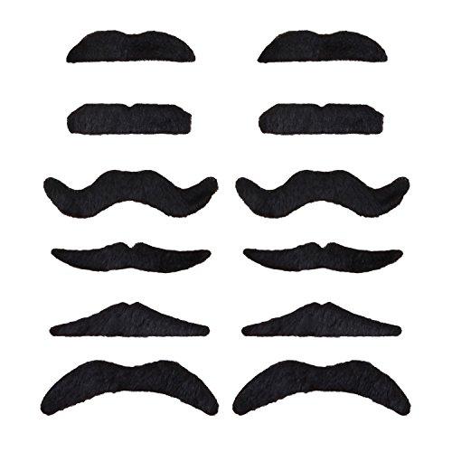 Und Bärte Perücken Fake (WeAreAwesome Schnurrbart Set B 12 Stück Bart Mix schwarz gemischt zum Ankleben Klebebärte falsche)