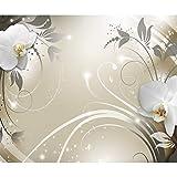 decomonkey   Fototapete Abstrakt Orchidee 350x256 cm XL   Tapete   Wandbild   Wandbild   Bild   Fototapeten   Tapeten   Wandtapete   Wanddeko   Wandtapete   Blumen Muster orange grau weiß