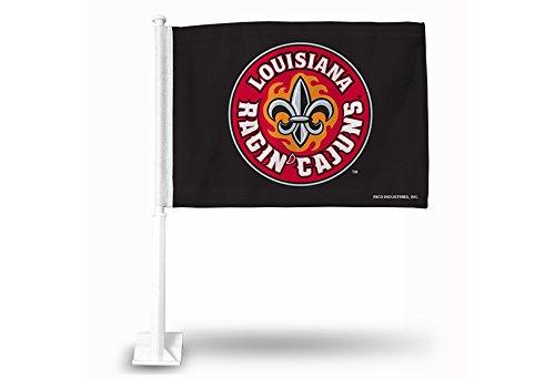 Rico NCAA Louisiana Lafayette Watson 'Cajuns Auto Flagge, Schwarz, mit Weiß Pole -