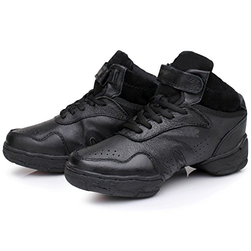 Oasap Unisex Genuine Leather Soft Sole Jazz Dance Shoes Black
