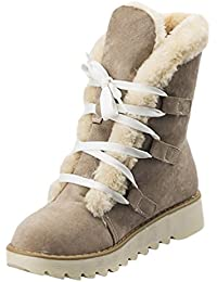 Anguang Mujer Invierno Tobillo Bota Forrado Botas Señoras Ata para arriba Plano Zapatos
