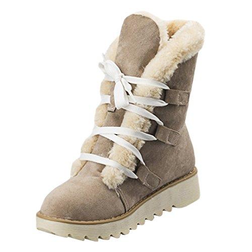 Anguang Mujer Invierno Tobillo Bota Forrado Botas Señoras Ata para arriba Plano Zapatos Beige 40
