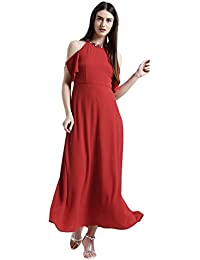 Zink London Solid Maxi Dress for Women