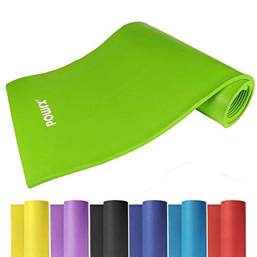 #Powrx Gymnastikmatte Trainingsmatte Pilatesmatte Phthalatfrei 190 X 60 X 1.5 cm oder 190 x 100 x 1.5 cm in verschiedenen Farben (Grün, 190 x 60 x 1.5 cm)#