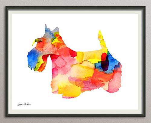scottish-terrier Rasse Hunde Hunderasse Fine Art Print Aquarell Silhouette Profil Poster Kunstdruck Plakat modern ungerahmt DIN A 4 Deko Wand Bild -