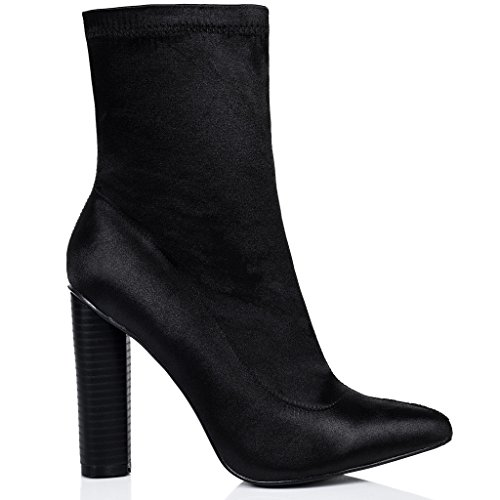 SPYLOVEBUY RHINO Femmes à Talon Bloc Bottines Chaussures Noir - Synthétique Satin Lycra