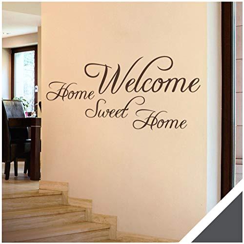 Exklusivpro Wandtattoo Spruch Wand-Worte Welcome Home Sweet Home inkl. Rakel (wrt03 dunkelgrau