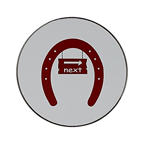 Metal round fridge magnet with The image of a signboard with the word next in a horseshoe . I used OCAL clipart called Fer A Cheval uploaded by jdaniel . Thanks.