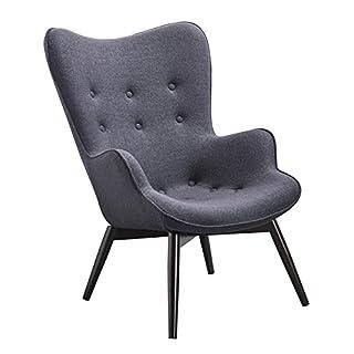 SalesFever Designer Ohren-Sessel mit Armlehnen aus Webstoff in Anthrazit | Anjo | Club-Sessel im Retro-Design | Gestell aus Holz in Schwarz-Braun | 68 x 41 x 92 cm