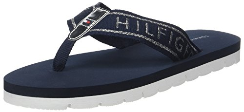 Tommy Hilfiger Damen Flexible Essential Beach Sandal Zehentrenner, Blau (Midnight 403), 38 EU