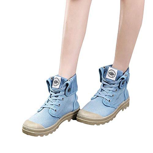 MYMYG Damen Militär Ankle Schuhe Freizeitschuhe Lace Up Plateauschuhe Klassische Ankle Boots Retro warme Stiefel Herbst Winter Sneaker Übergangsschuhe ()
