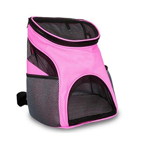 Ihoy zaino portaoggetti da viaggio per animali domestici, cinturino morbido sul lato superiore zaino da viaggio per cani da viaggio finestra in rete traspirante per cani e gatti (rosa)