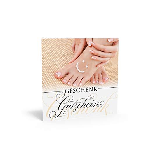 Pythagoras Geschenkgutschein Quadra glückliche Füße FU823 (10 Stück), Gutschein für Fußpflege, Kosmetikstudios und Wellness Oasen mit großem Feld für Ihren Firmenstempel