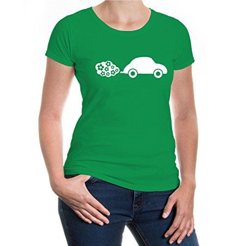 buXsbaum® Girlie T-Shirt Blumenauto Kellygreen-White
