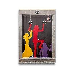 Calvendo Premium Textil-Leinwand 30 cm x 45 cm hoch, EIN Motiv aus dem Kalender Türen in Funchal | Wandbild, Bild auf Keilrahmen, Fertigbild auf echter Leinwand, Leinwanddruck Orte Orte