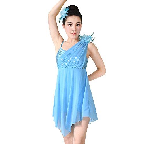 MiDee Mädchen Hemdchen, Oder So Was Asymmetrischen Pailletten Lyrical Tanz Kleid Latin Kostüm (Blau, (Billig Lyrical Dance Kostüme)