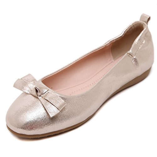 Fortuning's JDS Soft-soled Doux bowknot Princesse / à tête ronde Casual Egg Roll Women Shoes Or