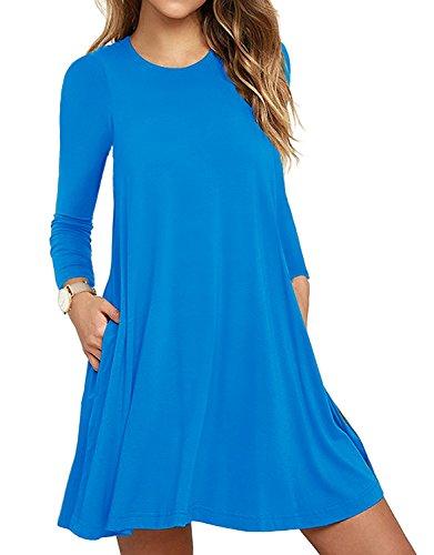 HAOMEILI Damen Langarm Stretch Casual Loose T-Shirt Kleid XL SkyBlau (Spandex Stretch-rayon)