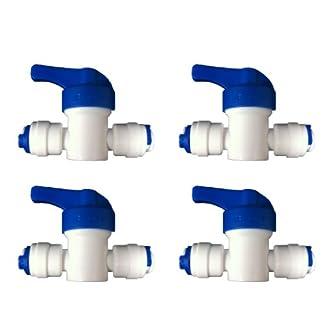 The Water Filter Men 4 x ósmosis inversa válvula de Cierre en línea, 1/4″ Conector