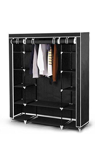 Best For Home XXL 175 x 150 x 45 cm Stoffschrank Kleiderschrank Faltschrank mit Kleiderstange und 11 Regalfächern, inkl. Schutzhülle, Viele Aufbauvarianten, CE-Zertifikat Schwarz Oder Grau(Schwarz)