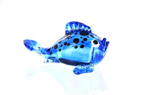 Kugelfisch Blau mit Schwarzen Punkten - Figur aus Glas Puffer - Glasfigur Glasfisch Korallenfisch Zierfisch Deko Setzkasten Vitrine Aquarium