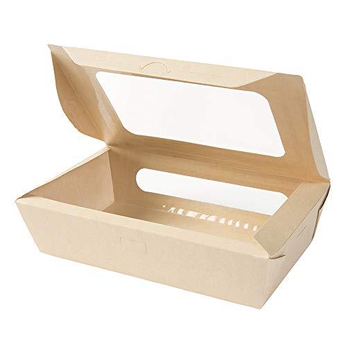 """BIOZOYG Box da Asporto di Fibre di bambù I Bio Scatola di Cartone """"Tree Free"""" con Doppia Finestra - a Prova di Perdita compostabile I 50 Scatole per Pasticceria Scatole Regalo 950ml"""