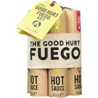 "Modern Gourmet Foods, Set de Regalo Muestrario de Salsas Picantes ""The Good Hurt Fuego"", Set de 7 Salsas de Chile Picantes, 90 ml en cada una"