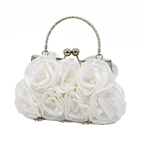 Modische Süße Damen Handgehaltene Rose Casual Party Party Tasche White