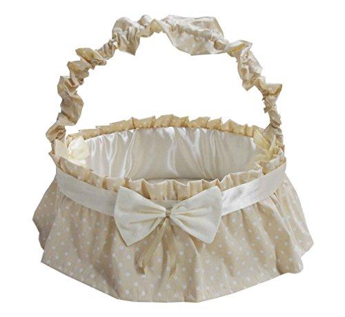 Fiocco nascita cesto nascita porta prodotti rivestito grande in panna