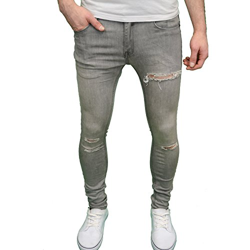 Soulstar, Herrenjeans im Ripped-Look, superskinny, Stretch Grey Blast