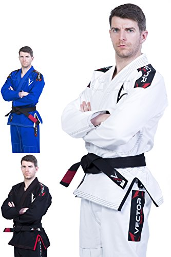 Vector, kimono per ju jitsu brasiliano bjj gi, con cintura bianca leggera prelavata pearl weave, 100% tessuto cotone attila series, uomo, white