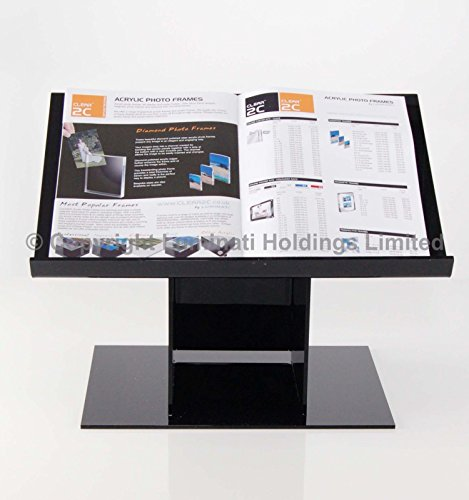 Table Top Book Stand / Lectern - Available In Clear, Black, White & White Frosted Acrylic Plastic - Black Acrylic