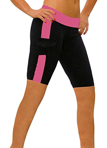 ABUSA - Short de sport - Capri - Femme Multicolore - Black+Rose Red (5'')