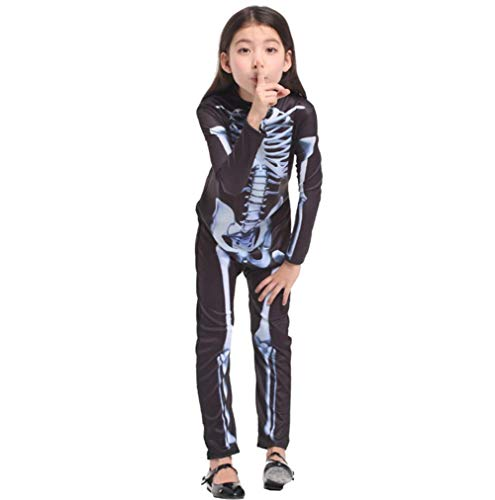 CVDEKH Halloween Kostüm Schädel Skelett Dämon Geist Cosplay Kinder Kostüm Langarm Baumwolle Strampler Tops + Lange (Macht Ein Skelett Kostüm)